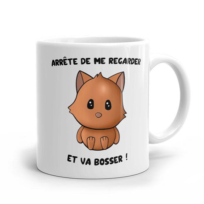 Chat mignon dessiné sur un mug