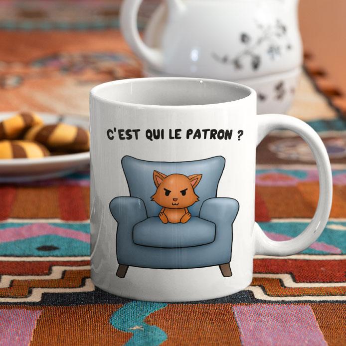 Mug humoristique avec un chat roux