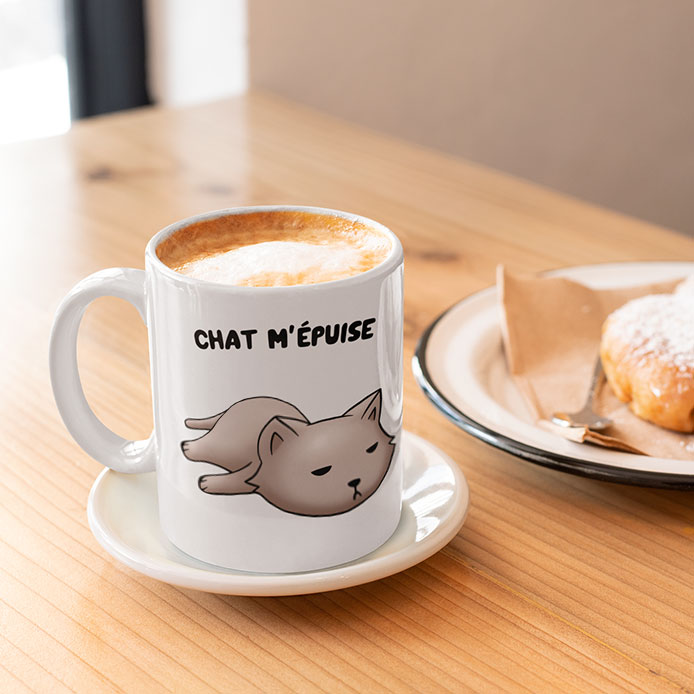 Un mug original chat fatigué