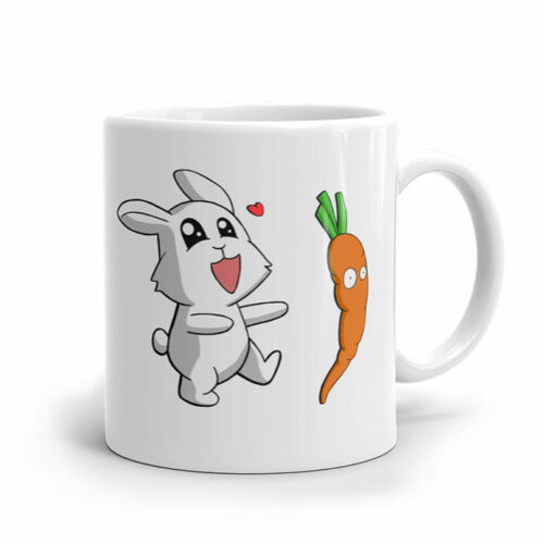 Un lapin rigolo et une carotte amusante