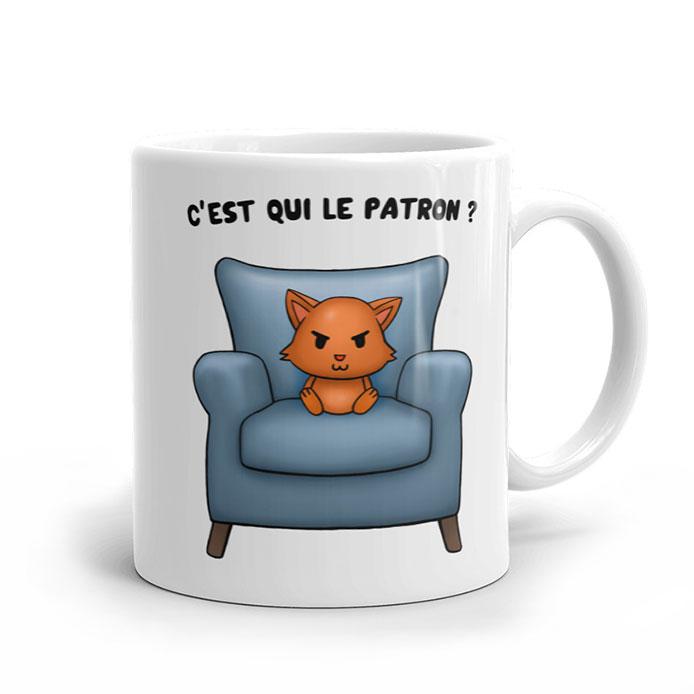 Mug original humoristique avec un chat roux